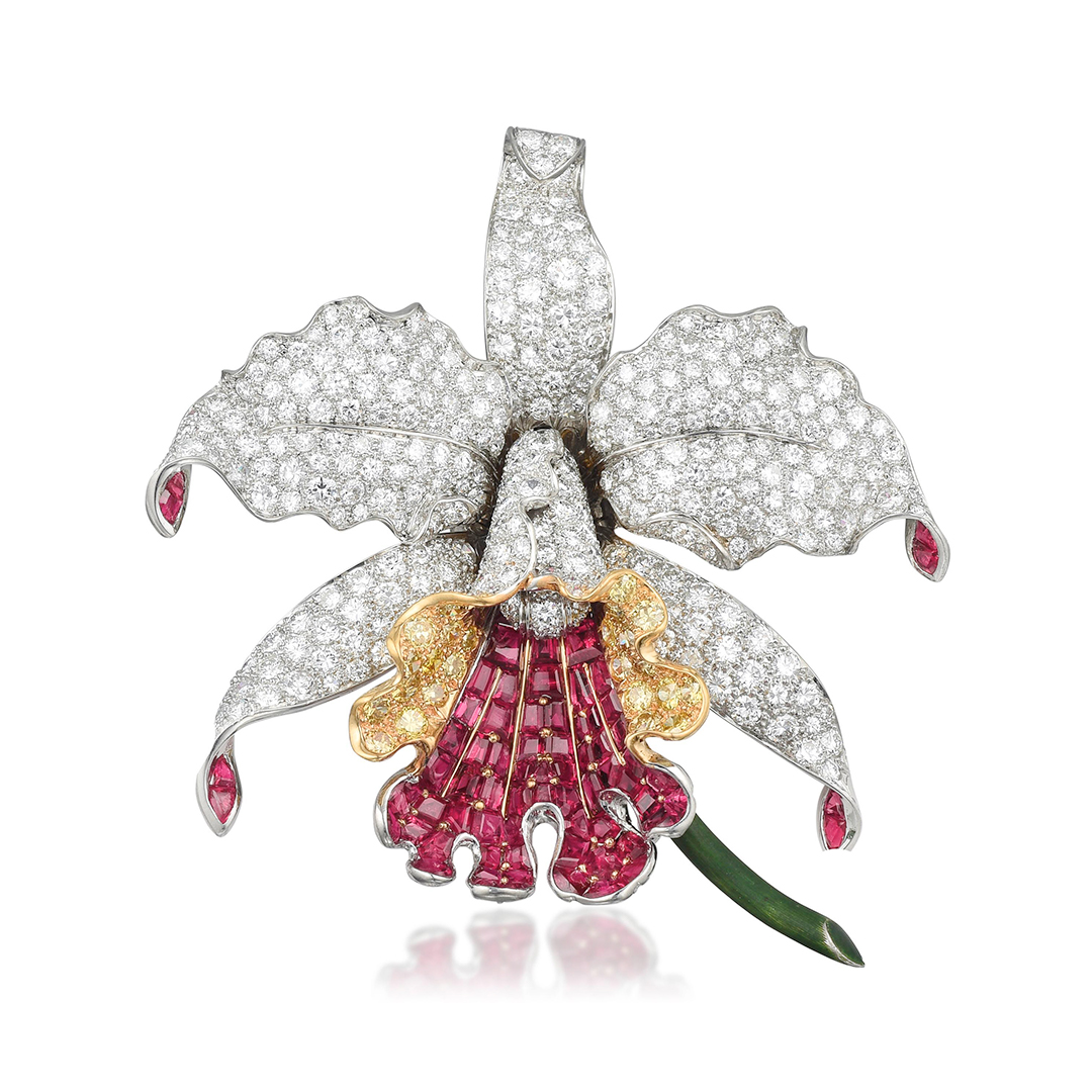 Oscar Heyman Orchid Diamond and Ruby Brooch