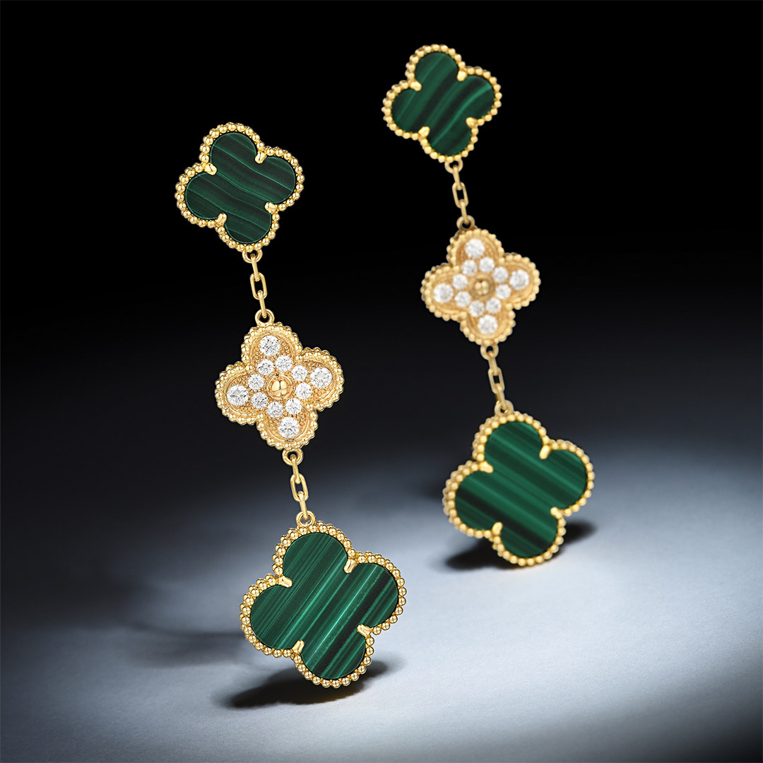 Van Cleef & Arpels Magic Alhambra Malachite Earrings - Fortuna October Exchange_Mobile