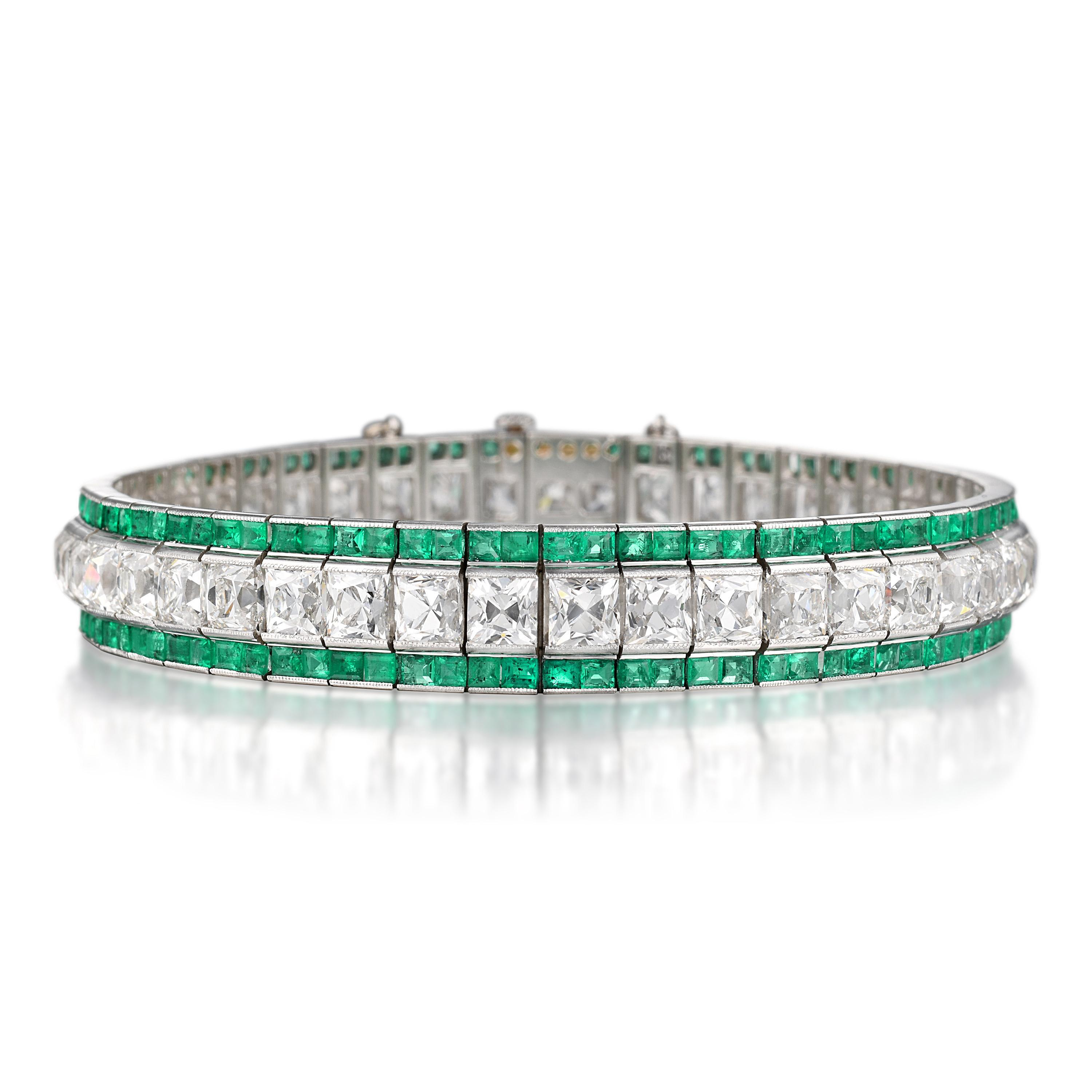 Art Deco Tiffany & Co. Emerald and Diamond Bracelet - Fortuna Important Jewels Auction - Dec 2019