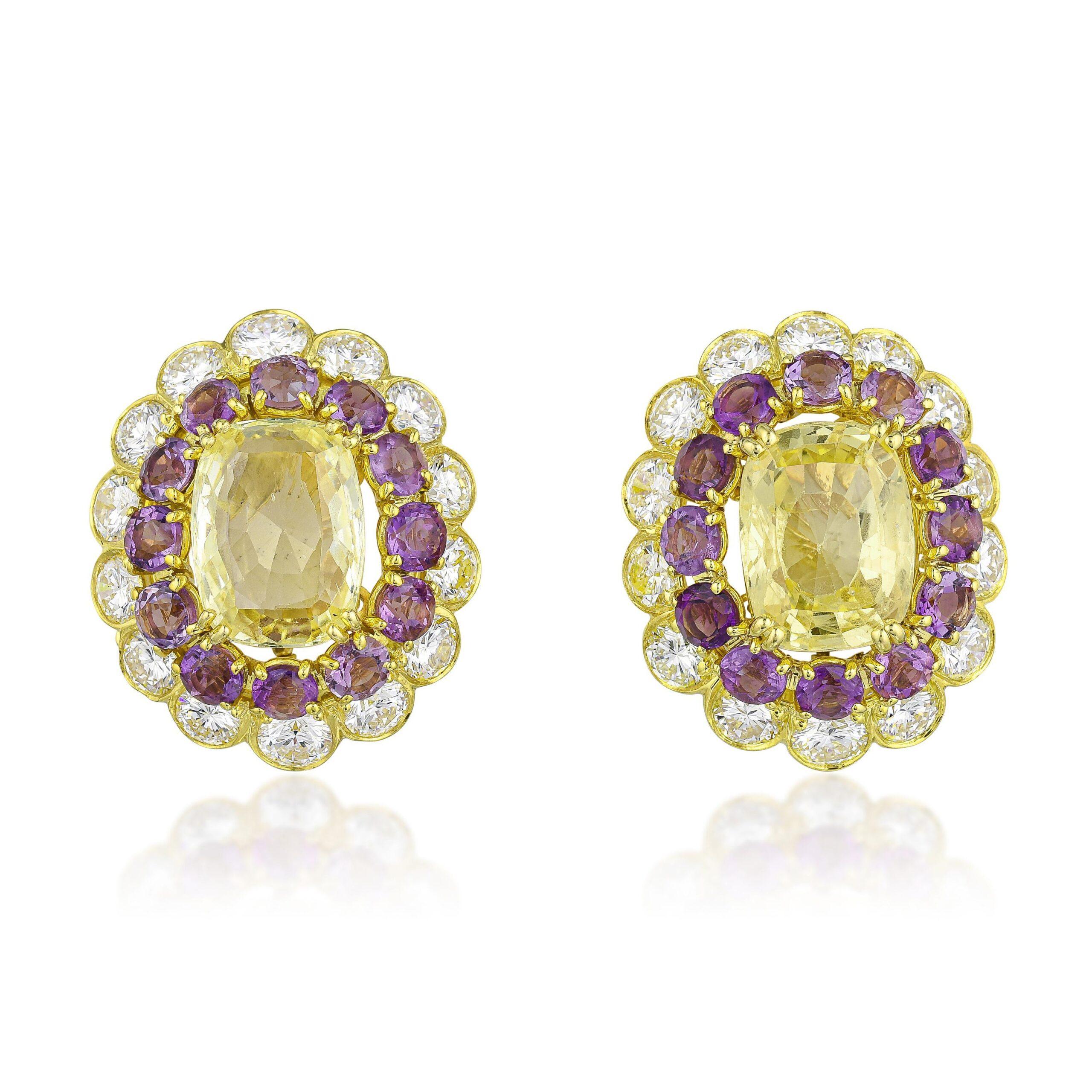 Van Cleef & Arpels Yellow Sapphire Amethyst and Diamond Earclips