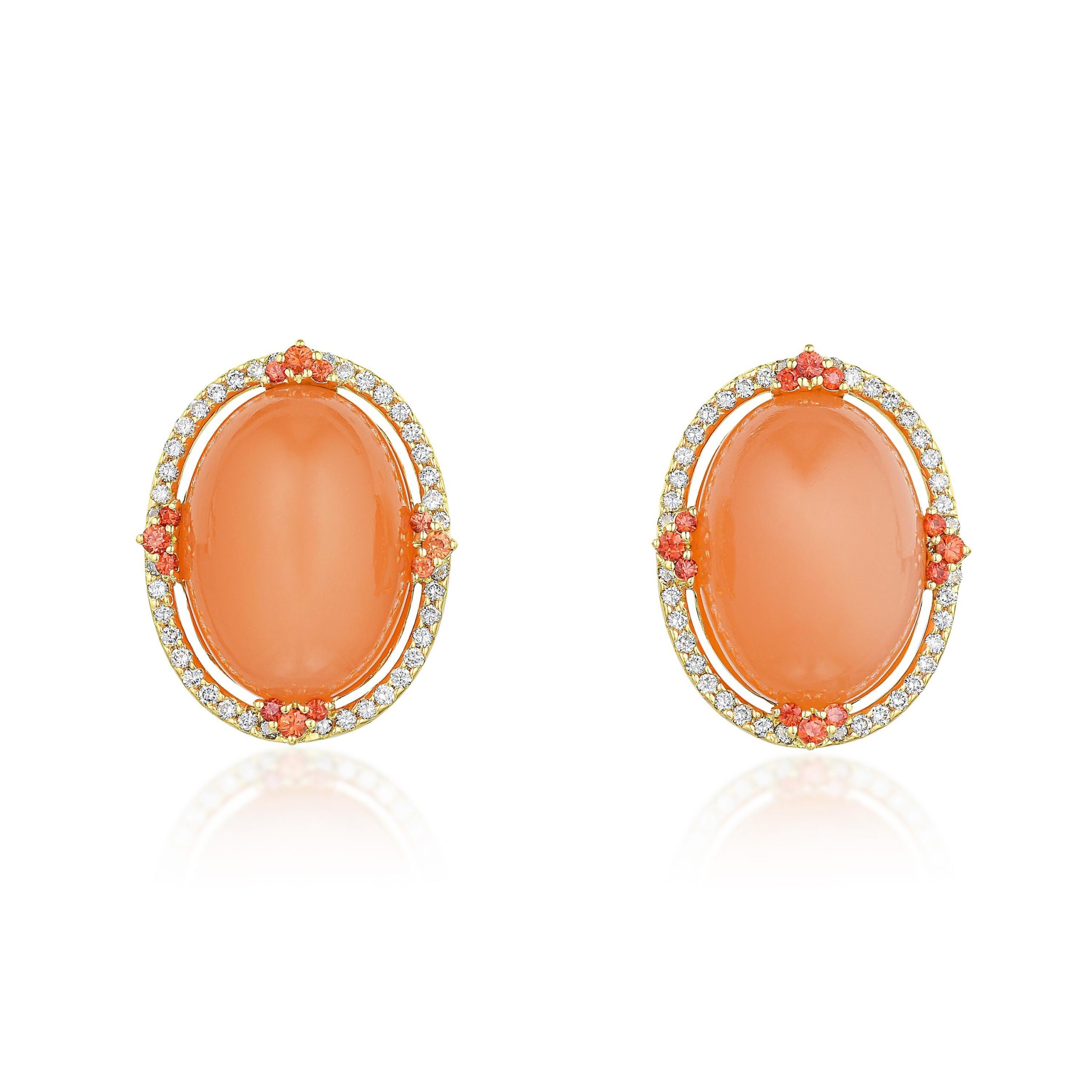 Orange Moonstone and Diamond Earrings