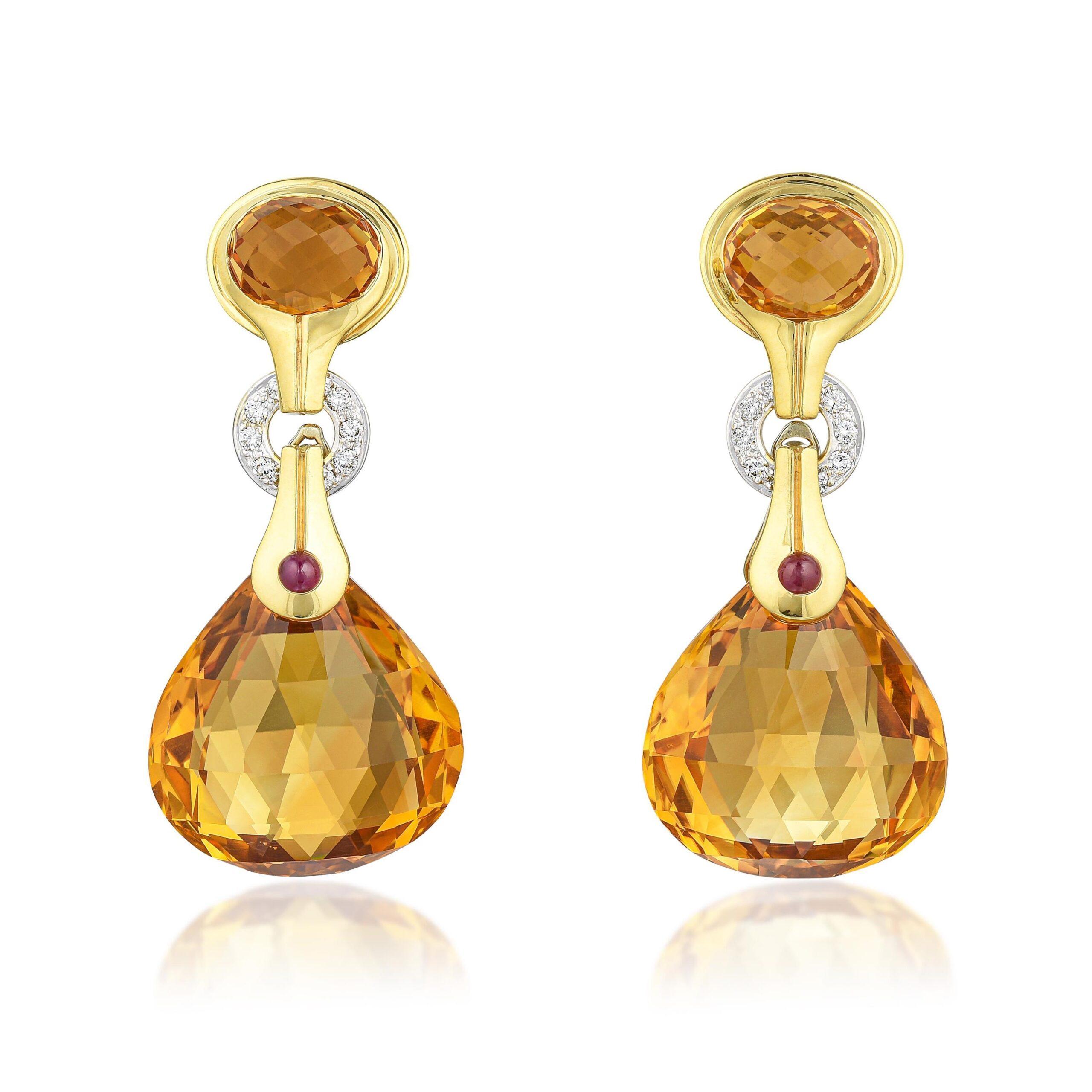 Citrine Diamond and Ruby Day/Night Earclips, Italian