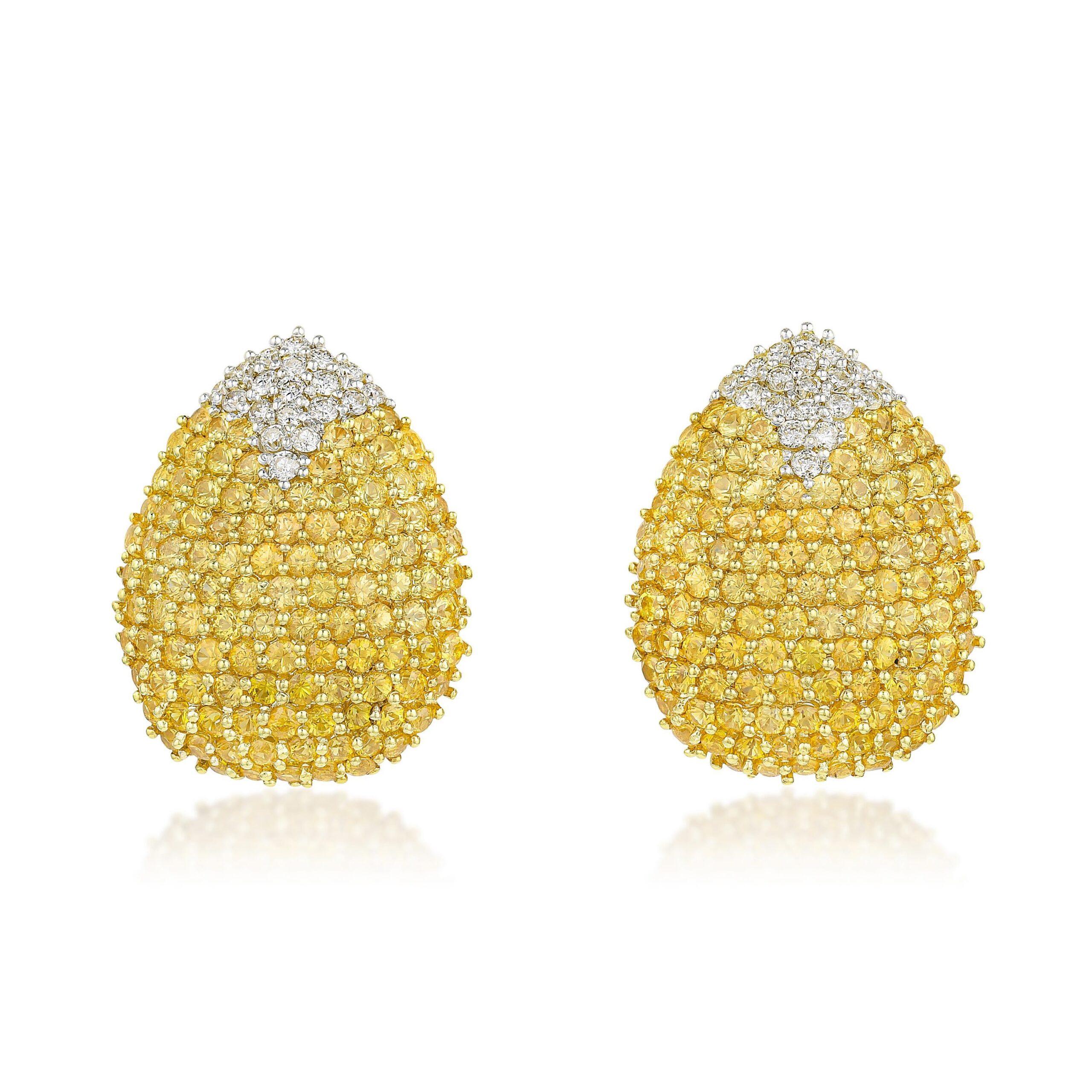 Yellow Sapphire and Diamond Earclips