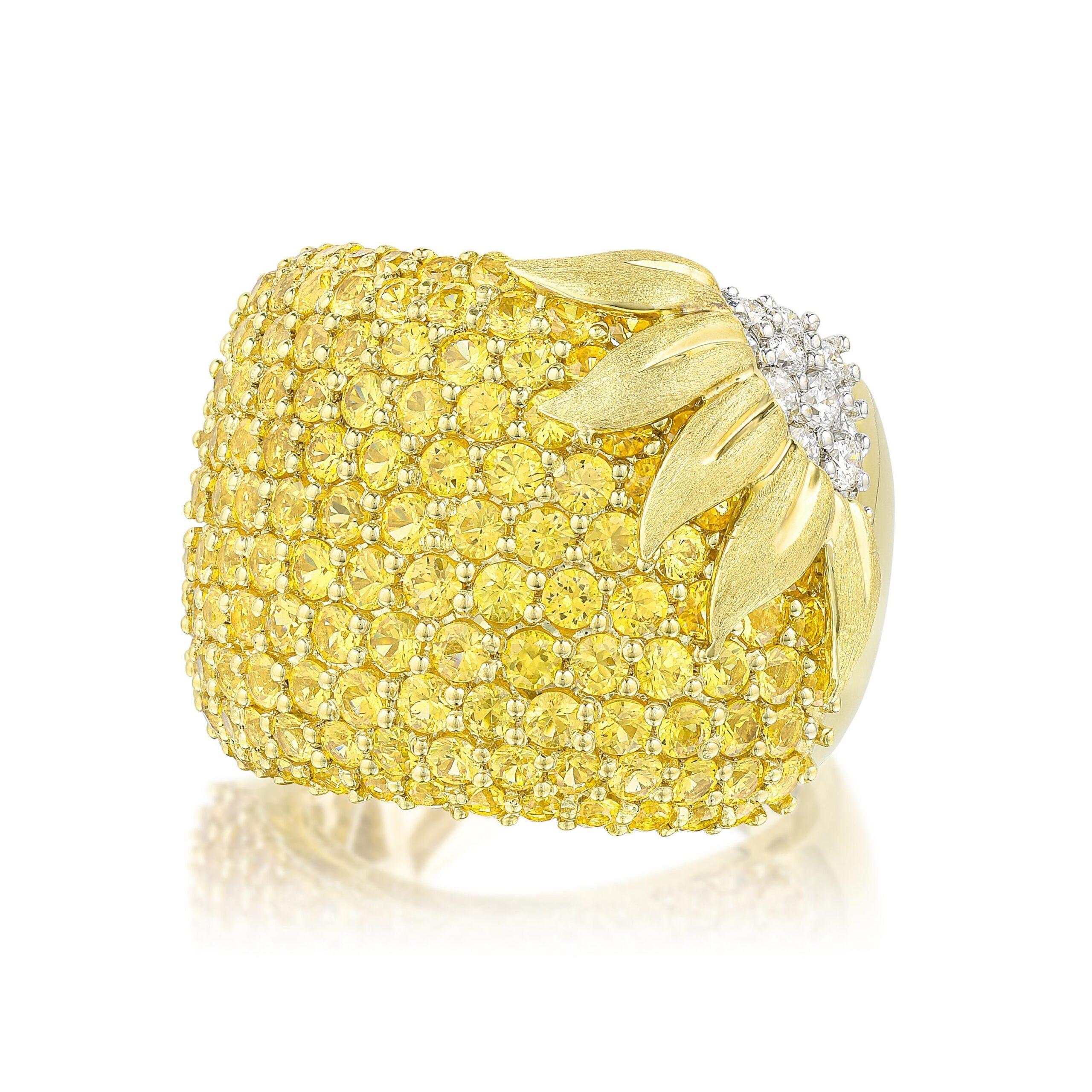 Yellow Sapphire and Diamond Sunflower Ring