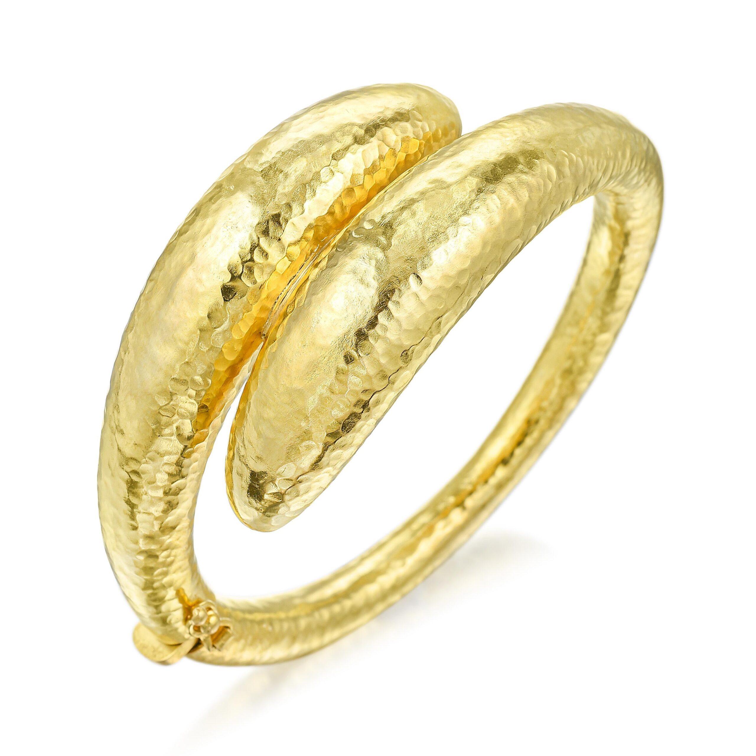 Hammered Gold Bangle Bracelet