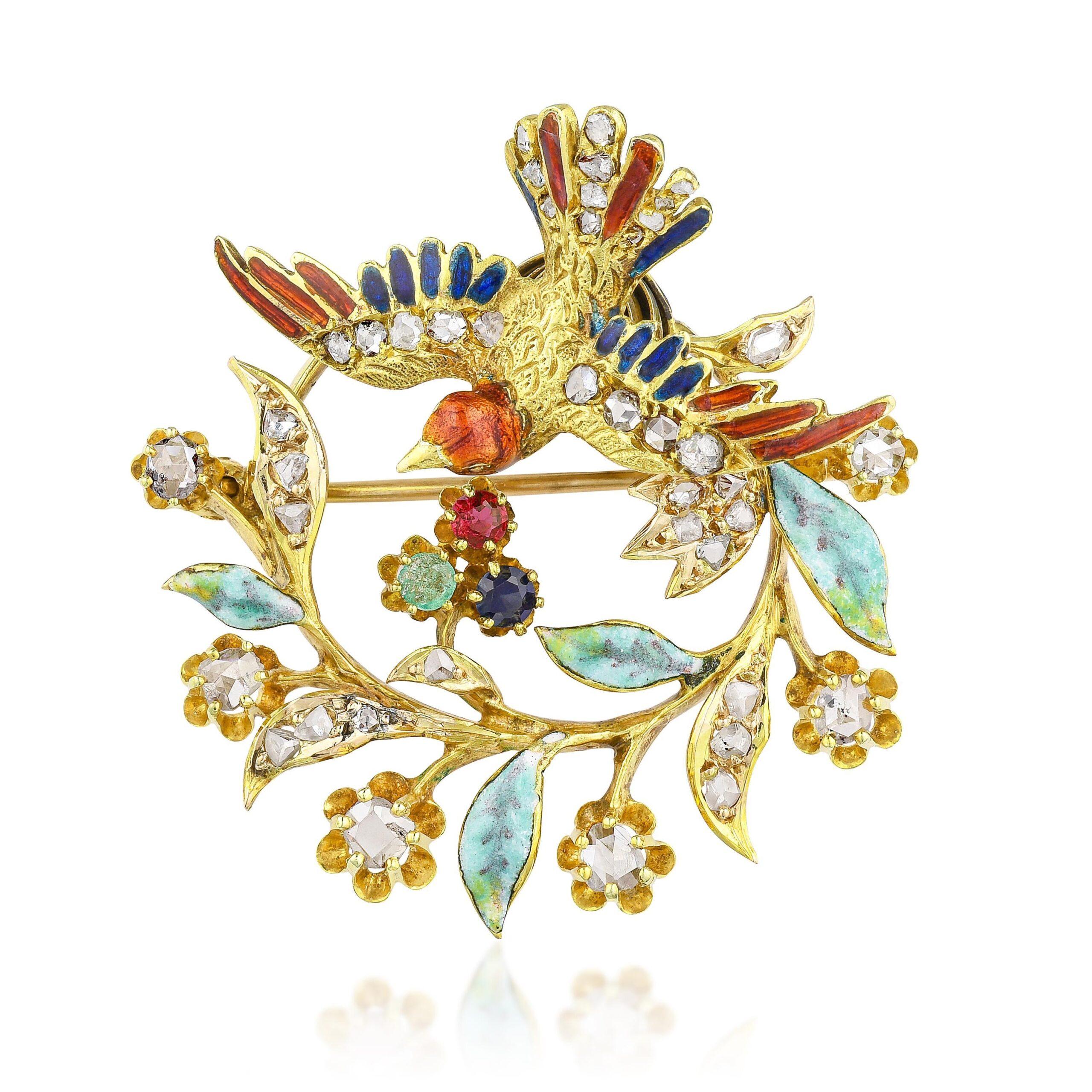 Art Nouveau Enamel and Diamond Bird Pin/Pendant
