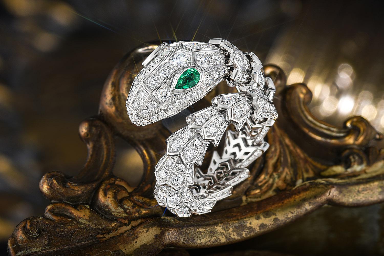 Bulgari Serpenti Emerald and Diamond Coil Ring