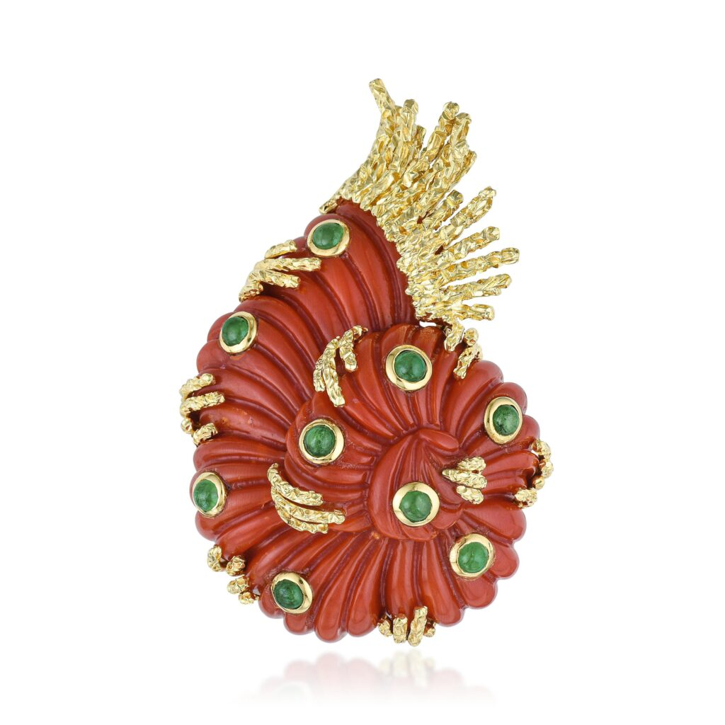 nautilus shell coral and emerald brooch