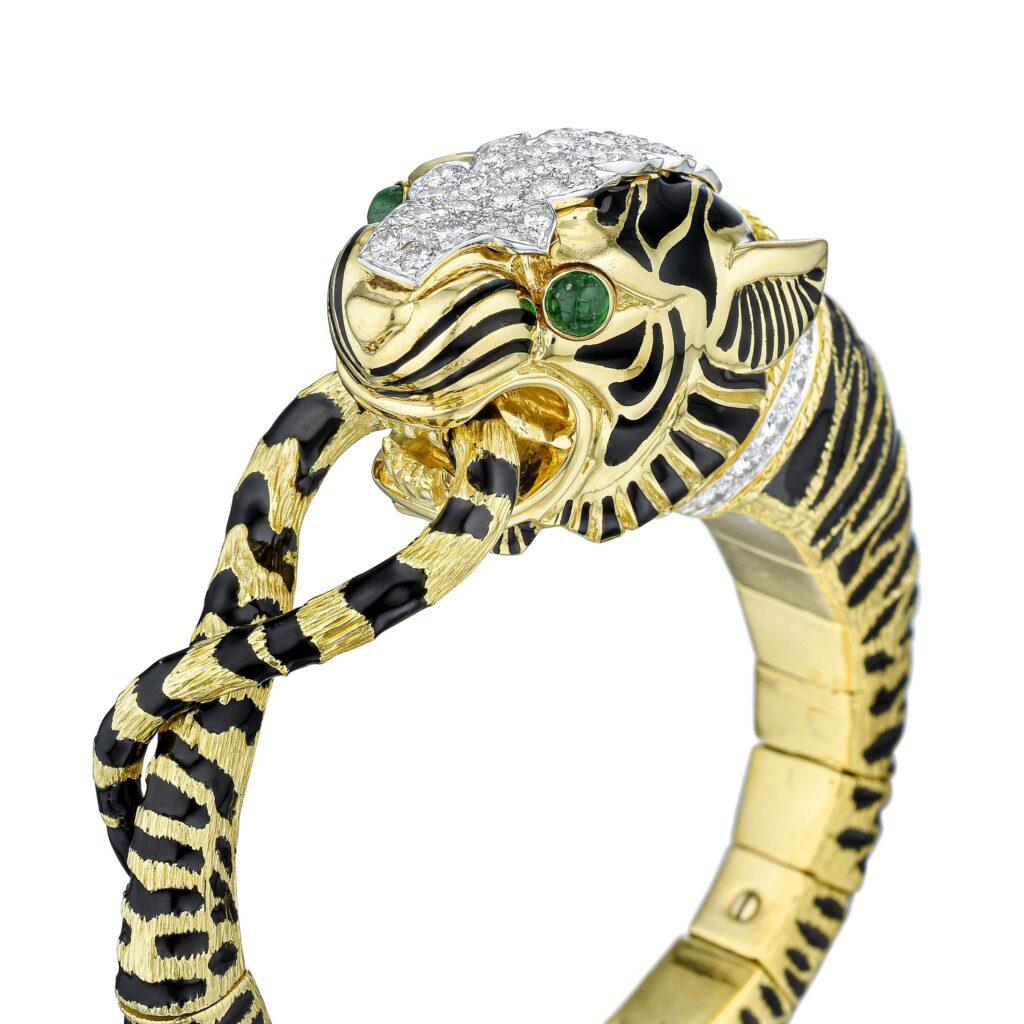 david webb diamond and enamel tiger