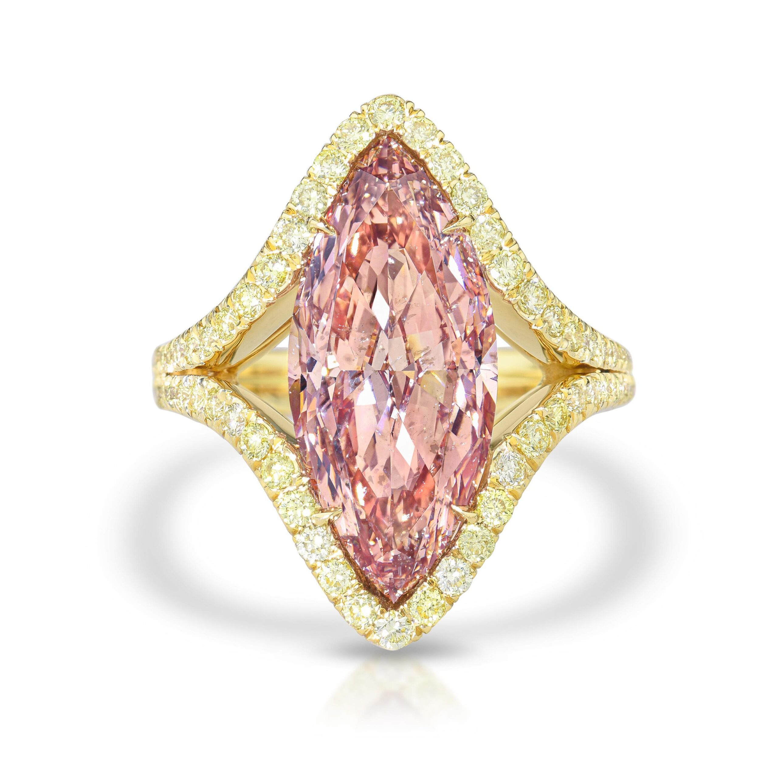 5.43-Carat Fancy Intense Orangy Pink Marquise Diamond Ring, with GIA